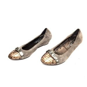 AGL Taupe Suede & Bronze Patent Leather Wedges